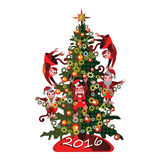 Смешная обезьяна на рождественской елке на белой предпосылке Стоковое Фото