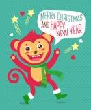 Смешная обезьяна пожелала счастливый Новый Год характер рождества Карточка вектора шаржа Милый характер обезьяны иллюстрация штока