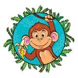 Смешная обезьяна с бананом в ее руке Как часть Стоковые Изображения RF