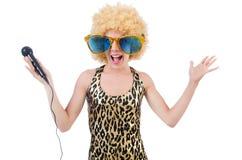 Смешная певица   женщина стоковые изображения rf