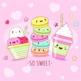 Смешная предпосылка с милыми сладкими значками в стиле kawaii иллюстрация вектора
