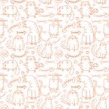 Смешная предпосылка котов эскиза шаржа Стоковая Фотография RF