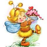Смешная предпосылка феи детей банкы рисуя цветя замотку акварели валов реки Стоковые Фотографии RF