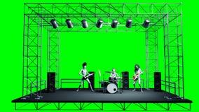 Смешная рок-группа чужеземца Бас, барабанчик, гитара Реалистические shaders движения и кожи отснятый видеоматериал экрана зеленог иллюстрация штока