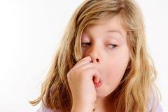Смешная рудоразборка девушки в носе Стоковое Фото