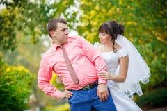 Смешная свадьба жених и невеста Стоковые Изображения