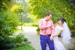 Смешная свадьба жених и невеста Стоковое Фото