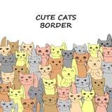 Смешная семья котов, граница для вашего дизайна Стоковое фото RF