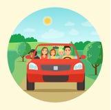 Смешная семья управляя в красном автомобиле на празднике выходных бесплатная иллюстрация