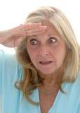 смешная смотря женщина стоковое фото rf
