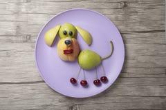 Смешная собака сделанная с плодоовощами на плите и столе Стоковые Фотографии RF
