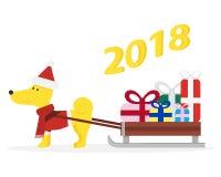 Смешная собака шаржа с санями и подарками Стоковое Фото