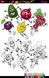 Смешная страница расцветки шаржа плодоовощей Стоковая Фотография RF