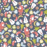 Смешная текстура рождества с малыми элементами. иллюстрация вектора