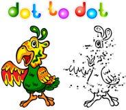 Смешная точка попугая шаржа, который нужно поставить точки Стоковое Изображение