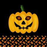 Смешная тыква на хеллоуин на предпосылке текстуры, накаляя глаза, фонарик Джека стоковая фотография rf
