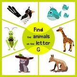 Смешная уча игра лабиринта, находит все 3 милых дикого животного с письмом g, тропической горилла, жираф от саванны и кузнечик Стоковые Фото