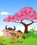 Смешная ферма с предпосылкой жизни шаржа коровы иллюстрация вектора