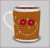 Смешная чашка в свитере с кнопками Стоковые Изображения RF