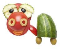 Смешная черепаха сделанная из томата и огурца Стоковое Изображение