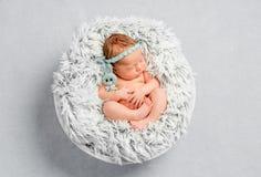 Смешная newborn девушка с держателем стоковые изображения rf