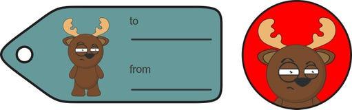 Смешное выражение карточки подарка шаржа северного оленя сварливое Стоковые Фотографии RF