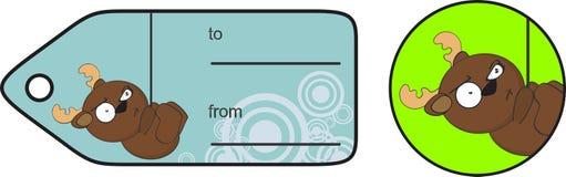 Смешное выражение карточки подарка шаржа северного оленя anoying Стоковое Фото