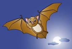 Смешное летание летучей мыши на ноче хеллоуина полнолуния Стоковые Изображения RF