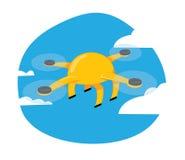 Смешное желтое летание трутня на предпосылке голубого неба иллюстрация штока