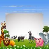 Смешное животное собрание шаржа с предпосылкой природы и пустым знаком бесплатная иллюстрация