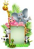 Смешное животное с пустым знаком иллюстрация штока