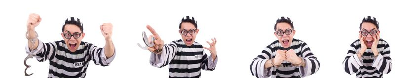 Смешное каторжник изолированное на белизне стоковые фотографии rf
