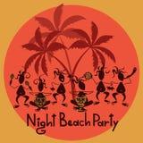 Смешное приглашение к партии пляжа ночи Стоковые Фотографии RF