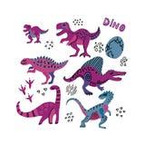 Смешное собрание динозавров Милые ребяческие характеры в пурпурных цветах 6 рука вычерченный dino с яйцами Динозавры установили,  иллюстрация штока
