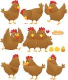 Смешное собрание 2 шаржа цыпленка Стоковые Фото