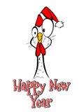 Смешное с Рождеством Христовым счастливого петуха цыпленка Нового Года комичное Стоковые Изображения RF