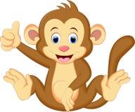 Смешное усаживание шаржа обезьяны Стоковое Изображение RF