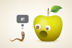 Смешное яблоко и глист Стоковые Фотографии RF