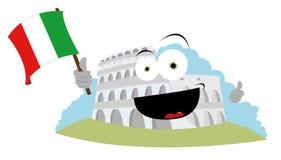 Смешное Colosseum держа итальянский флаг иллюстрация вектора