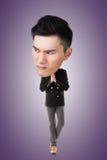 Смешной азиатский большой головной человек стоковые фотографии rf