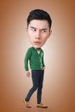 Смешной азиатский большой головной человек Стоковое Изображение
