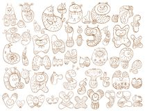 Смешной алфавит шаржа doodle Стоковое фото RF