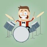 Смешной барабанщик шаржа Стоковая Фотография RF