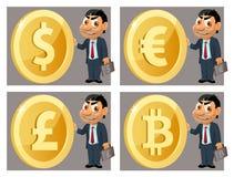 Смешной бизнесмен держит символ различных валют Доллар, евро, фунт стерлингов, bitcoin иллюстрация штока