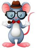 Смешной битник мыши с стеклами и бабочкой иллюстрация вектора