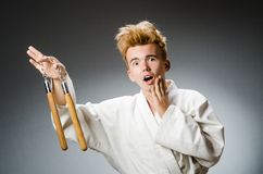 Смешной боец карате Стоковые Фотографии RF