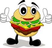 Смешной бургер шаржа Стоковые Изображения