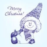 Смешной вектор снеговика рождества нарисованный рукой Стоковое Фото