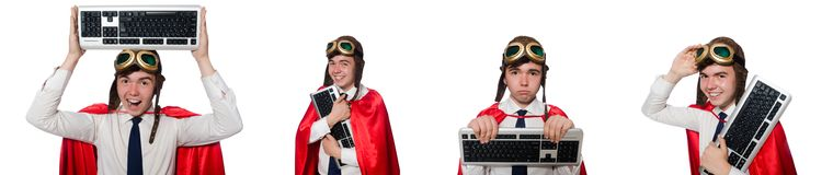 Смешной герой при клавиатура изолированная на белизне Стоковое Фото