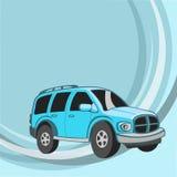 Смешной голубой автомобиль Стоковое Изображение